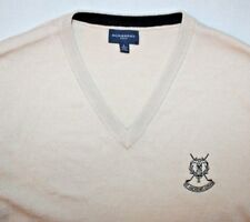 RARE Burberry Men's  Beige Tan V Neck Golf Sweater Vest (St. Andrews) Large