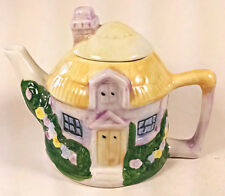 Handpainted Cottage House Teapot Yellow Purple Green Floral Ceramic 2 Cups 16 oz