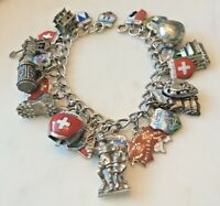 30 Vintage Sterling Silver SWITZERLAND Charm Bracelet Enamel Travel Shields Map