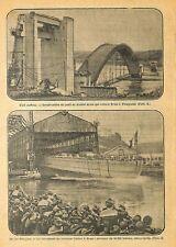 """BREST (29) CONSTRUCTION PONT / LANCEMENT CROISEUR """" COLBERT """" ILLUSTRATION 1928"""