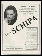 1941 Tito Schipa photo opera recital booking vintage print ad