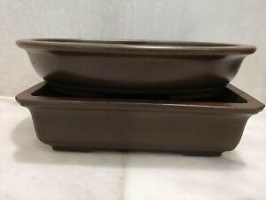 "Vintage Pair lot Japanese Bonsai Brown Ceramic Pots Oval & Rectangle 7¾"" & 6.75"""