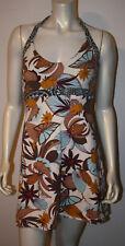 PATAGONIA Blue Brown Plum Floral Halter Dress M