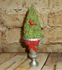 "Doll House Size Topiary Christmas Tree Cardinals Silver Urn 6.5"" Ornament Figure"
