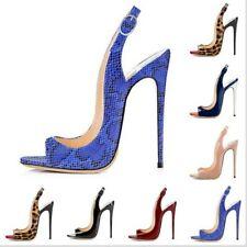 Women Sandals Peep Toe Stilettos High Heel Buckle Strap Cocktail Party Shoes L