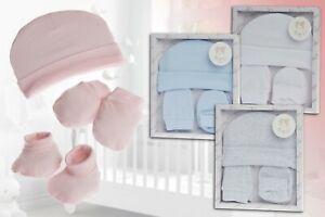 Baby Geschenkset Mütze Fäustlinge Socken, 100% Baumwolle