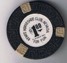 Reno's Horseshoe Club $1.00 Casino Chip Playable Only For Fun Reno Nevada