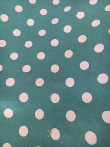 DOTTY SPOT Blue Fabric curtain Upholstery material 2.6m Piece Heavy Cotton