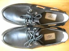 Ugg Mens Size 41 Boat Shoes in Black Leather Upper