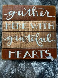 """Primitives by Kathy Halloween Wood Slat Box Sign 10""""x10""""  Gather Here With...."""