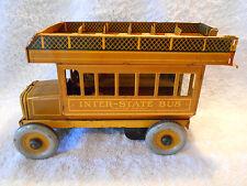 1920s Ferdinand Strauss Windup Tin Litho 10in Inter-State Bus 109 Double Decker