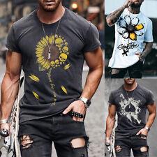 ❤️Men Printed Summer Short Sleeve T Shirt Casual Sports Gym Muscle Slim Tee Tops