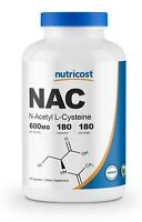 Nutricost N-Acetyl L-Cysteine (NAC) 600mg, 180 Capsules - Non-GMO & Gluten Free