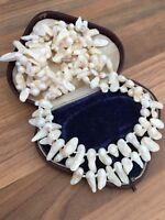 Mother Of Pearl Beaded Flapper Length Necklace 86gr