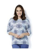 Mr Max Printed Brazil Knit Top with 3/4 Dolman Sleeves Size Large