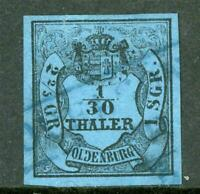 Germany 1854 Oldenburg 1/30 Thaler Blue Ty C SG #4 VFU G222 ⭐⭐⭐⭐⭐