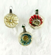 """3 Antique Glass Indent Red/Blue/Silver Feather Tree Christmas Ornaments 1.75"""""""