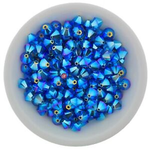 Capri Blue AB2X 3mm, 4mm, 6mm Preciosa Crystal Bicones