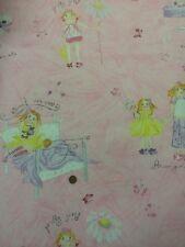 blumen mädchen pyjama party rosa silber 100% baumwolle quilting craft fabric