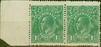 Australia 1923 1 1/2d Green SG61a/ BW88a Coarse Unsurfaced Paper V.F MNH Pair...