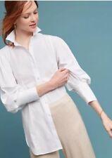 Anthropologie Blouse 2 MAEVE Cotton HARRIET POPLIN Top Tunic Cuffs White NWT