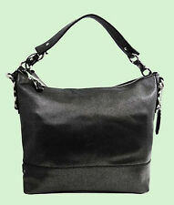 COLE  HAAN WAVERLY AVERY Black/Silver Leather Hobo Shoulder Bag