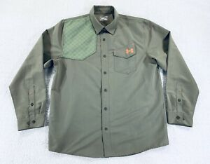 Under Armor Prey Shooting Hunting Shirt Loose Long Sleeve Olive Mens Size XL