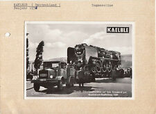 KAELBLE TRUCK & TRAILER CIRCA 1936 MODEL SHOWN, POST CARD PASTED TO CARD.