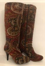 Diba Tilda Red & Gold Paisley Brocade Velvet Boots w Metallic Gold Dust  Sz 7.5M
