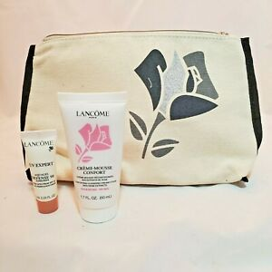 Lancome Creme Mousse Confort Cleansing Foam Rose and UV Expert Makeup Bag Gift