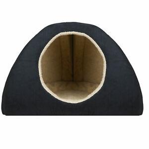 LARGE BLACK FAUX SUEDE DOG BED IGLOO **LUXURY DOG BED**