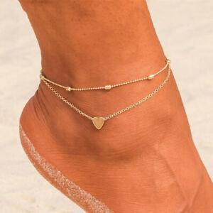 Bracelet Double Chain For Ankle - Golden