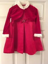 Perfectly Dressed Little Girls Red And White Holiday Dress Size 24 Mnths 2pc Set