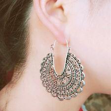 BIG Hoop Earrings Ethnic Tribal Aztec Hippy Boho Dangle Indian Silver Tibetan UK