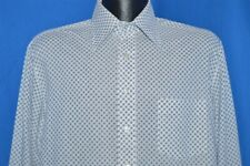 vintage 70S Kmart Big Collar White Blue Squares Button Down Shirt Large L