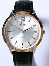 Henley Mens Classic Watch with Rose Gold Tone Rim & Black Genuine Leather Strap