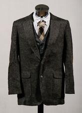 Haggar 100% Wool Tweed Suede Elbow Patches Sport Coat Blazer Jacket Sz 40L