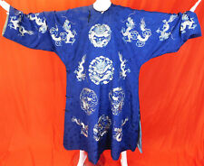 Antique Chinese Blue Silk Damask Weave Brocade Embroidered Longpao Dragon Robe