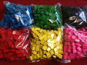 30 Wooden Cubes / Cuboid Gaming Boardgame Spares Replacment Parts 6 Colours