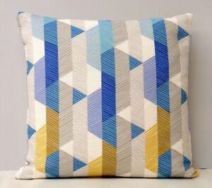 Imogen Heath Designer Cushion Cover Geometric Design Blue, Mustard Yellow & Grey