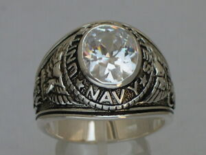 Navy United Stated Military 925 Sterling Silver April Clear Men's Ring Size 7-14