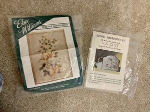 Vintage Elsa Williams embroidery kit. Tulip panel and Jacobean tea cozy