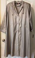 Vtg Alorna Gray Belted Lightweight Raincoat Shoulder Pads 80's Size L