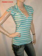 18/10 NEW SILENT ANGEL TURQUOISE BLUE WHITE STRIPE V NECK POLO CAP SLEEVE TOP 8