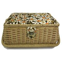 """Vintage 70s Woven Sewing Box Basket with Floral Fabric Top & Interior 11x8x6"""""""