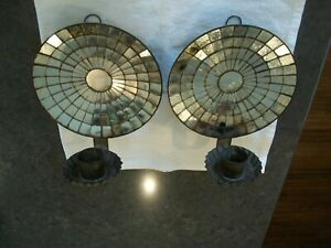 PAIR OF ANTIQUE SOLDERED TIN MIRRORED MOSAIC HANGING WALL SCONCES