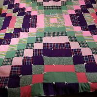 Vintage Patchwork Quilt 1970's Handmade Colorful Boho Hippie Blanket 58 x 76