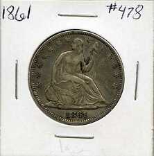 1861 50C Liberty Seated Silver Half Dollar. Circulated. Lot #81