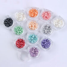 12 Colors/set Glaze Pearl 3D Nail Art Decoration Tips 3.5/4/5mm Manicure Salon