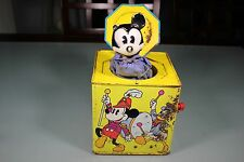 Vintage 1960's Mickey Mouse Jack In The Box Tin Lithograph. Needs Work. Old!